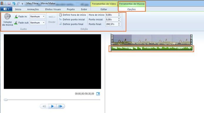 A música será adicionado logo abaixo do seu vídeo com opções para ajustes (Foto: Reprodução/Barbara Mannara)