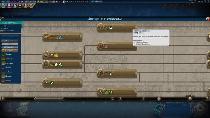 Interface de pesquisas em Civilization VI é pouco intuitiva e dificulta planejamento (Foto: Reprodução / Caio Fagundes)