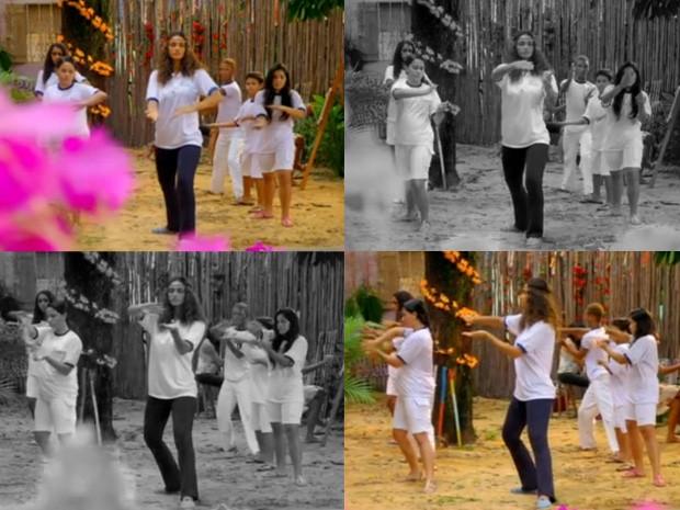 Taís dando aula de Tai Chi Chuan (Foto: Vila dos Ventos / TV Globo)