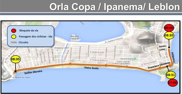 Alterações na orla de Copacabana, Ipanema e Leblon (Foto: Reprodução / CET-Rio)