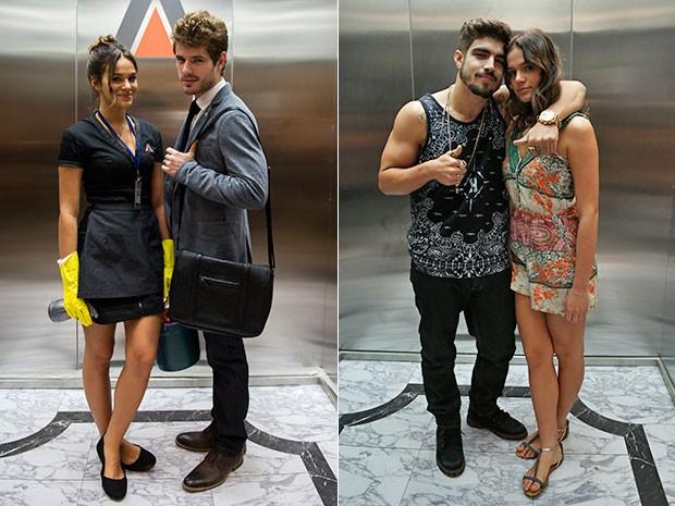 À esquerda, Bruna Marquezine posa com Maurício Destri e ao lado, a atriz com Caio Catro, nos bastidores de gravação da nova cena (Foto: Globo/Estevam Avellar e Ellen Soares/Gshow)
