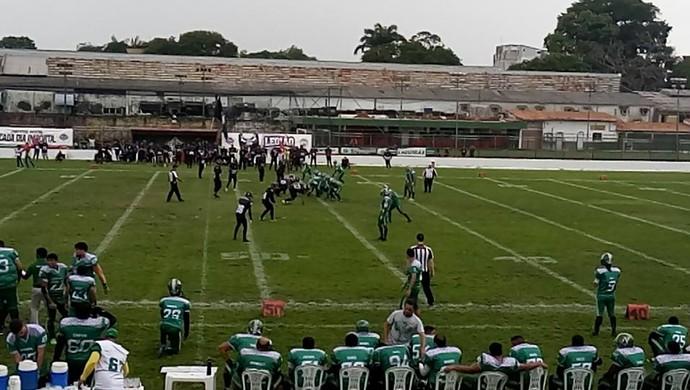 Decisão do Paraense de Futebol Americano aconteceu neste domingo (Foto   Facebook Fepafa) 2501e98110327
