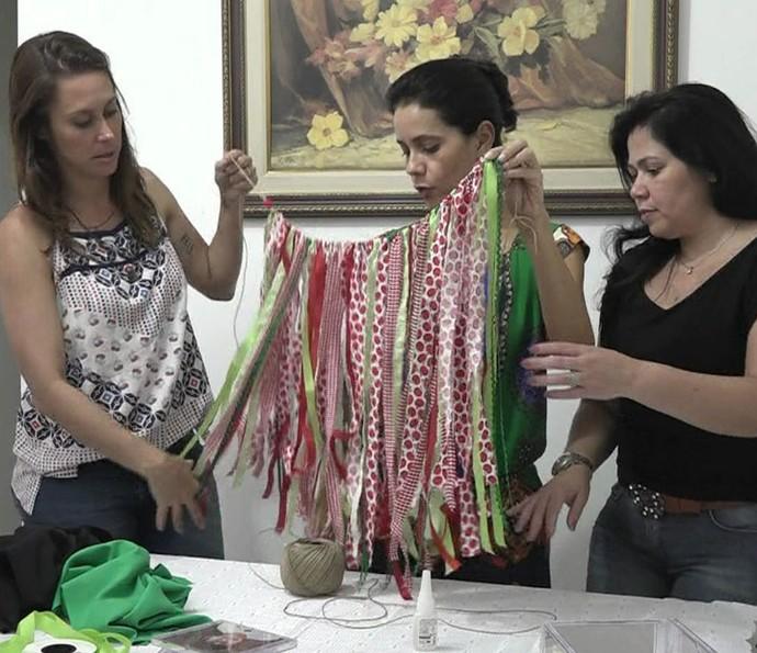 Veja como ficou o varal de tecidos  (Foto: TV Globo)