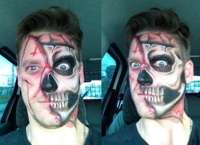 Guilherme Bernardy mostrou opção de maquiagem no Mistura (Foto: RBS TV/Divulgação)