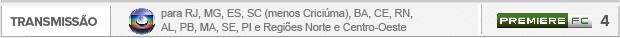 Header Transmissão Criciuma x Flamengo  - Globo para RJ, MG, ES, SC (menos Criciúma), BA, CE, RN, AL, PB, MA, SE, PI e Regiões Norte e Centro-Oeste - PremiereFC 4 (Foto: Editoria de Arte)