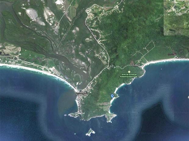 Mapa mostra local onde fica a Pedra do Telégrafo (Foto: Reprodução/GoogleMaps)