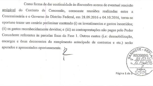 Trecho de documento em que empreiteiras citam duas reuniões sobre o Centro Administrativo do Distrito Federal (Foto: Reprodução)
