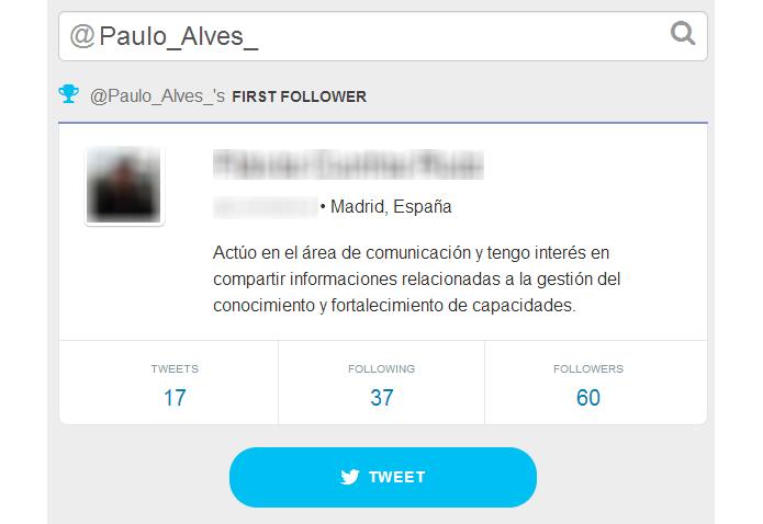 Ferramenta também mostra resumo do primeiro seguidor First Follower diz quem foi seu primeiro seguidor no Twitter (Foto: Reprodução/SocialRank)