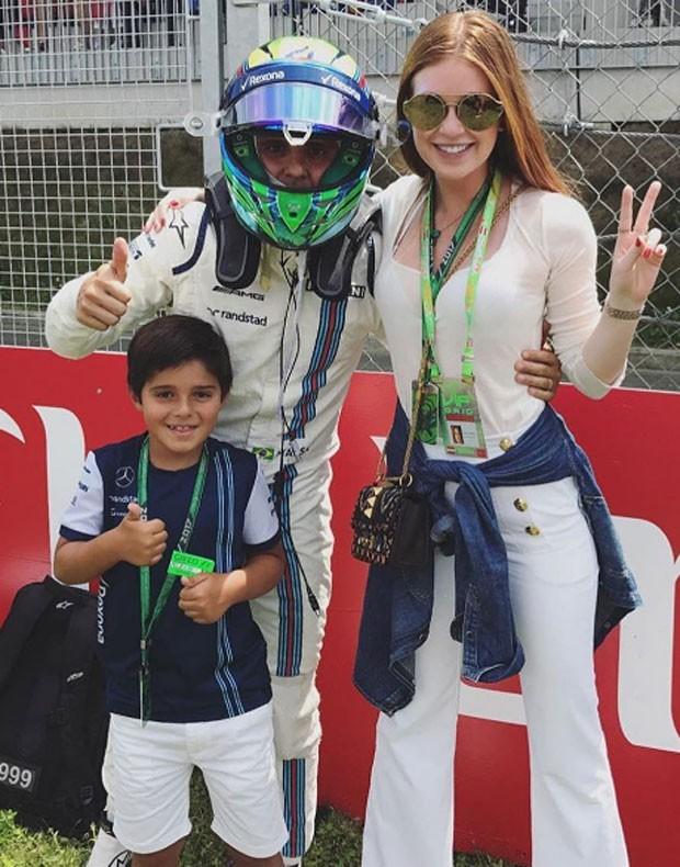 Felipe Massa, Felipinho e Marina Ruy Barbosa  (Foto: Reprodução)