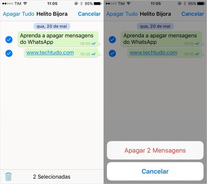 Apagando mensagens no WhatsApp para iOS (Foto: Reprodução/Helito Bijora)