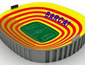 Mosaico no Camp Nou para Barcelona x Real Madrid (Foto: Reprodução / Twitter)