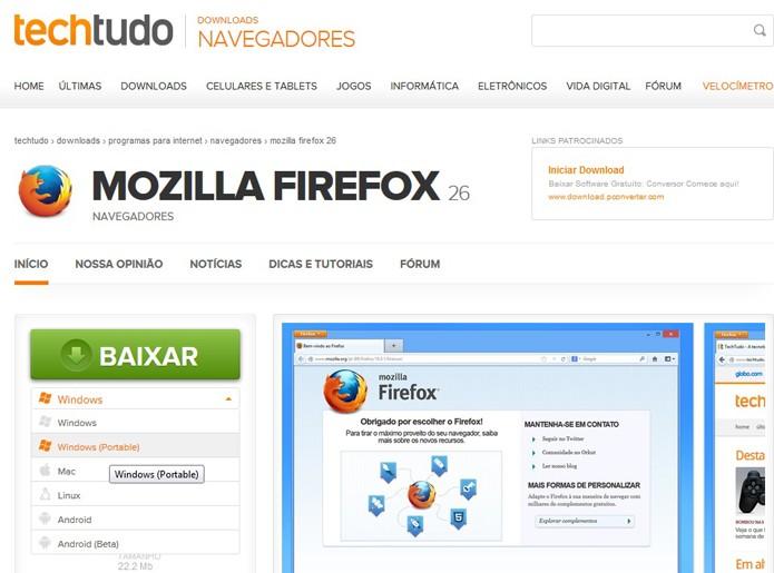 Firefox Portable (Foto: Reprodução/TechTudo)