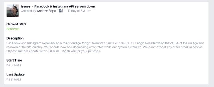 Andrew Pope, gerente de engenharia do Facebook, explica sobre causa da queda (Foto: Reprodução/Facebook)