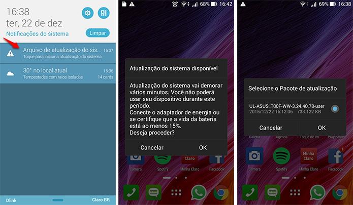 O smartphone irá identificar o arquivo de atualização automaticamente. (Foto: Reprodução/Alessandro Junior)