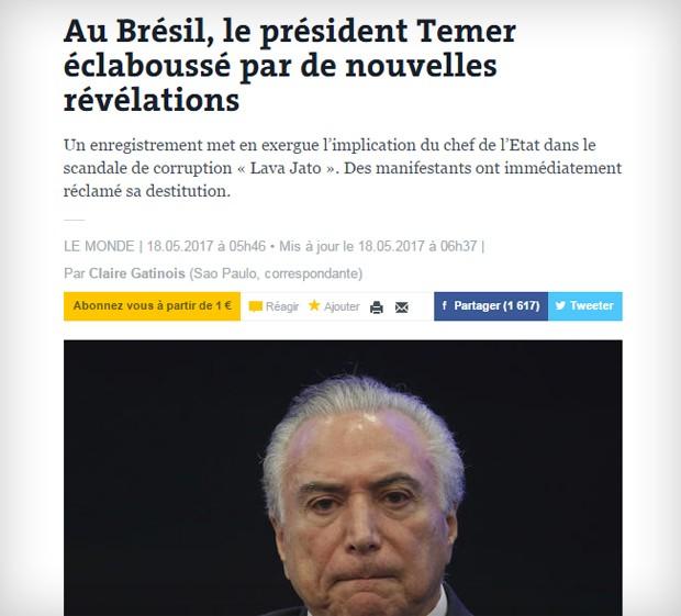Le Monde afirmou que dias de Temer parecem contados (Foto: Reprodução)