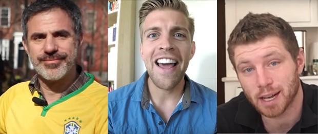 Seth Kugel, Gavin Roy e Tim Cunningham ensinam inglês de graça (Foto: Reprodução/YouTube)