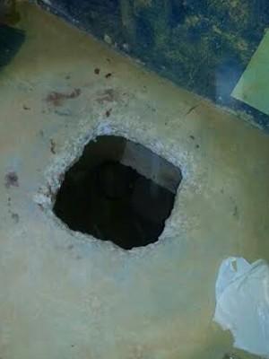 Túnel por onde grupo de presos fugiu do PSL I