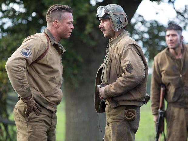 Brad Pitt e Shia LaBeouf em 'Corações de ferro' (Foto: Divulgação)