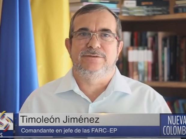 Timochenko, comandante máximo das Farc, divulga mensagem em vídeo em que diz que será respeitado o cessar-fogo definitivo na Colômbia apesar de pupolação ter rejeitado acordo de paz em referendo (Foto: Reprodução/ YouTube/ Nueva Colombia)