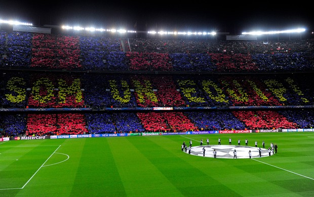 Torcida do Bar&#231;a, Barcelona x Milan (Foto: AFP)
