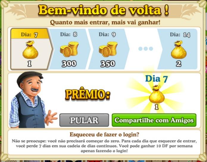 Fazer login diariamente rende boas recompensas (Foto: Reprodução / João Moura)