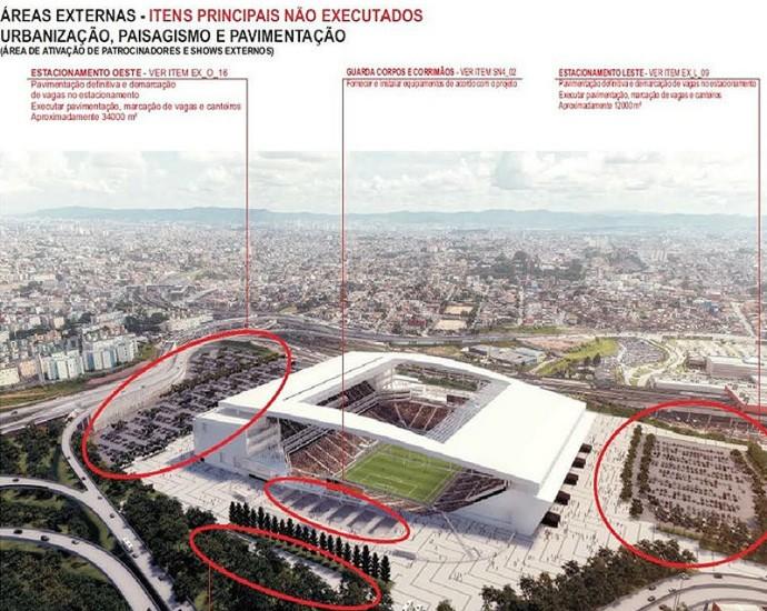 Relatório de obras inacabadas da Arena Corinthians 1 (Foto: Divulgação)