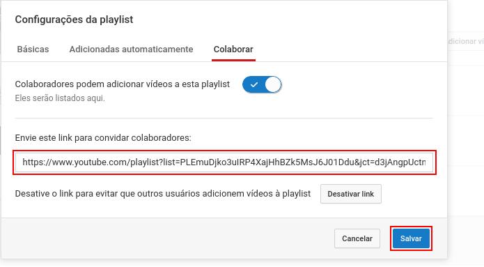 Copiando o link e salvando a playlist (Foto: Reprodução/Edivaldo Brito)