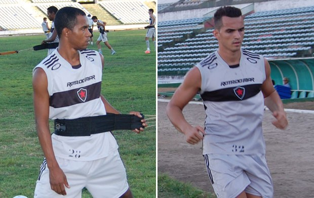 Fábio Neves (meia-atacante) e Remerson (goleiro) do Botafogo-PB (Foto: Lucas Barros / Globoesporte.com/pb)
