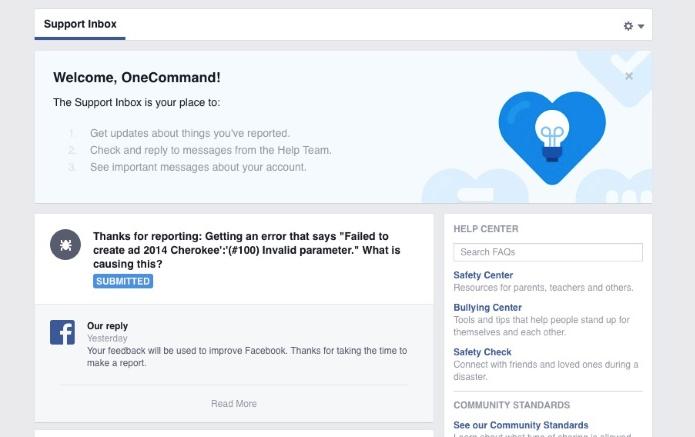 Facebook está testando novo visual em página de suporte (Foto: Reprodução/Adweek)
