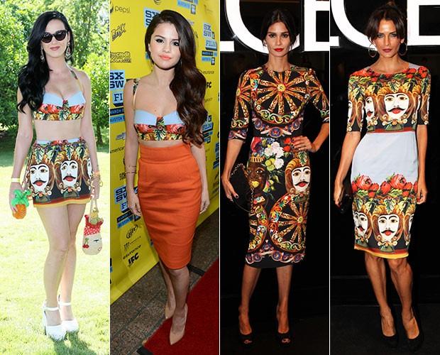 Katy Perry, Selena Gomez, Carol Ribeiro e Fernanda Motta (Foto: Agência Getty Images - Manuela Scarpa/Foto Rio News )