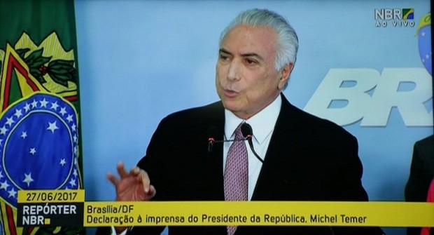 Presidente Michel Temer durante declaração a imprensa. (Foto: Fotos Públicas)