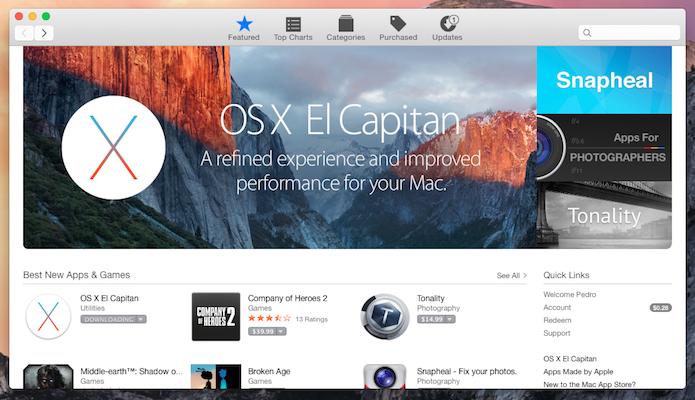 OS X El Capitan já está disponível para download na App Store (Reprodução)