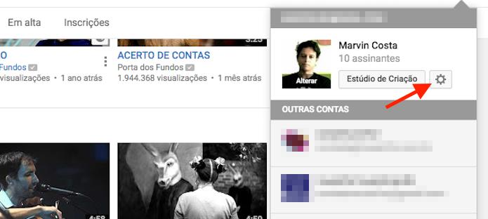 Acessando as configurações de um perfil do YouTube (Foto: Reprodução/Marvin Costa)