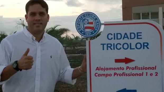 Presidente Marcelo Guimarães Filho apresentou o CT à imprensa baiana (Foto: Thiago Pereira)