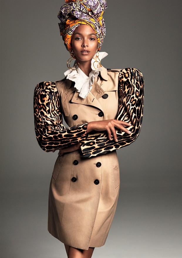 Tecido africano usado como turbante, Blikis African; brincos, Paula Mendoza (Foto: Greg Kadel)