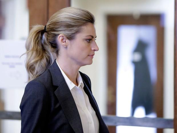 Repórter de TV americana Erin Andrews receberá indenização após ser filmada nua em quarto de hotel. Foto de arquivo de 7 de março de 2016 (Foto: Mark Humphrey/AP)