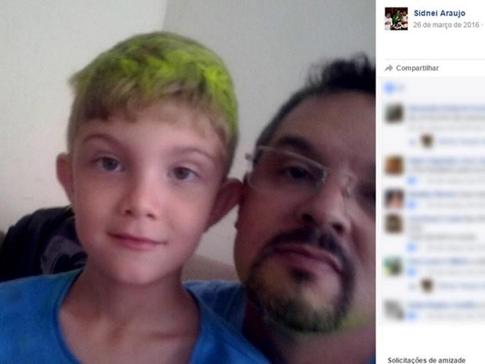 Sidnei Araujo e o filho João Victor, que foi morto pelo pai na noite de Ano Novo