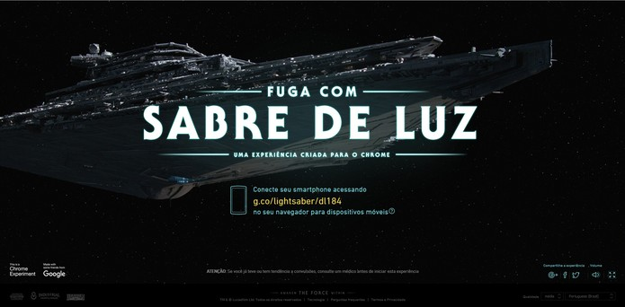 Acesse o endereço indicado na tela do computador em seu smartphone para começar o jogo (Foto: Reprodução/Càssio Barbosa)
