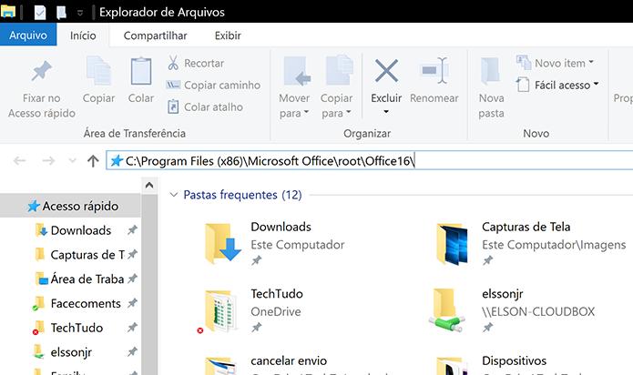 Digite caminho no Windows Explorer para acessar a pasta do Office (Foto: Reprodução/Elson de Souza)