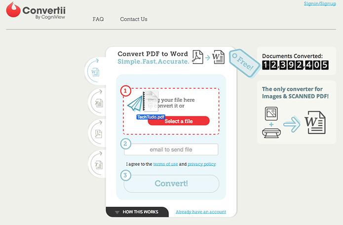 Arraste o arquivo PDF para o Convertii (Foto: Reprodução/Paulo Alves)