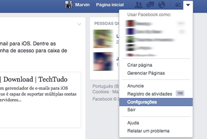 Acessando as configurações do Facebook (Foto: Reprodução/Marvin Costa)