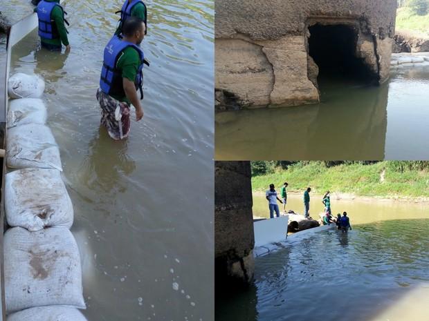 Sacos de areia e madeira serão usados para ampliar a barragem de contenção na ETA I (Foto: Divulgação/Depasa)
