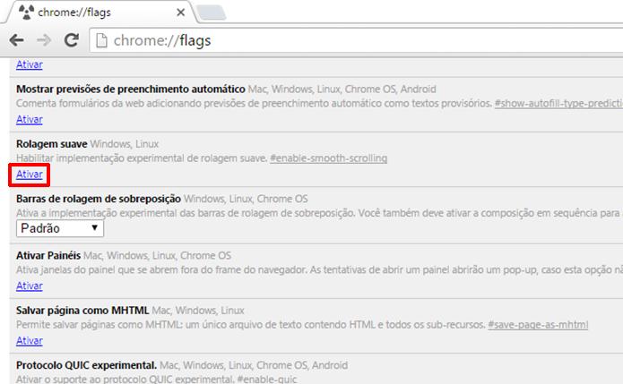 Chrome oferece rolagem suave para usuários que sentem incômodos com o padrão (Foto: Reprodução/Elson de Souza)