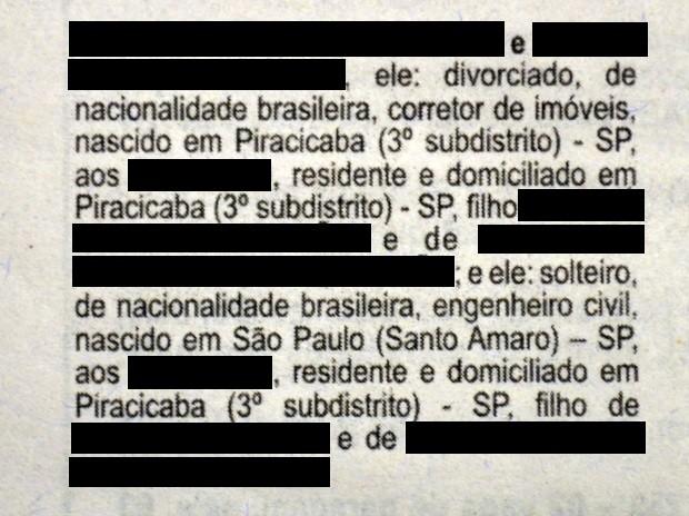 0af5f5e247d Edital de proclamas de casal homoafetivo foi corrigido e publicado em  Piracicaba (Foto  Reprodução