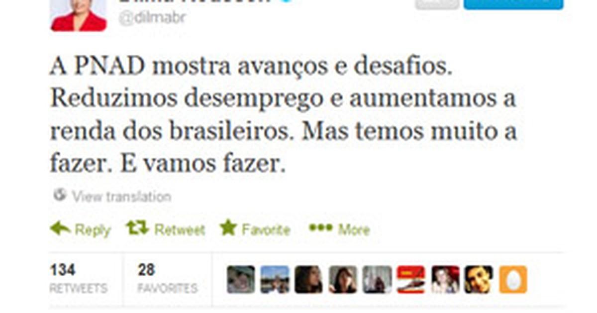 No Twitter, Dilma diz que pesquisa do IBGE mostra 'avanços e desafios'