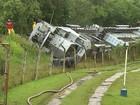 Empresa de trem que descarrilou faz barreira contra diesel e óleo em rio