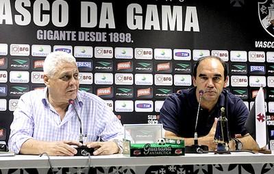 Roberto Dinamite e Ricardo Gomes coletiva Vasco (Foto: Marcelo Sadio / Site do Vasco)