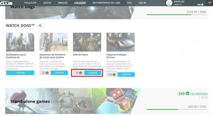 Ubisoft Club: localize um conteúdo de seu interesse e clique em Liberar (Foto: Reprodução/Paulo Vasconcellos)