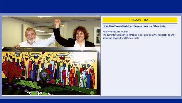 Site de Romero Britto mostra o quadro que a irmã do artista entregou para Lula em 2008 (Foto: Reprodução/Site Romero Britto)
