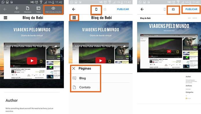 Visualize o resultado e publique o blog na internet (Foto: Reprodução/Barbara Mannara)